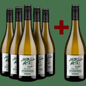 5+1-Set Emil Bauer 'Pinot Grigio, Pinot Gris, Bullshit' Drink real Grauburgunder 2020