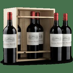 6 flessen 'Château Boutisse Saint-Émilion Grand Cru 2018' in houten wijnkistje