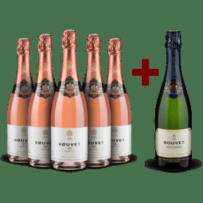 5 Flaschen Bouvet Ladubay '1851' Méthode Traditionnelle Rosé Brut + 1 Gratisflasche Crémant de Loire Brut Vintage 2016