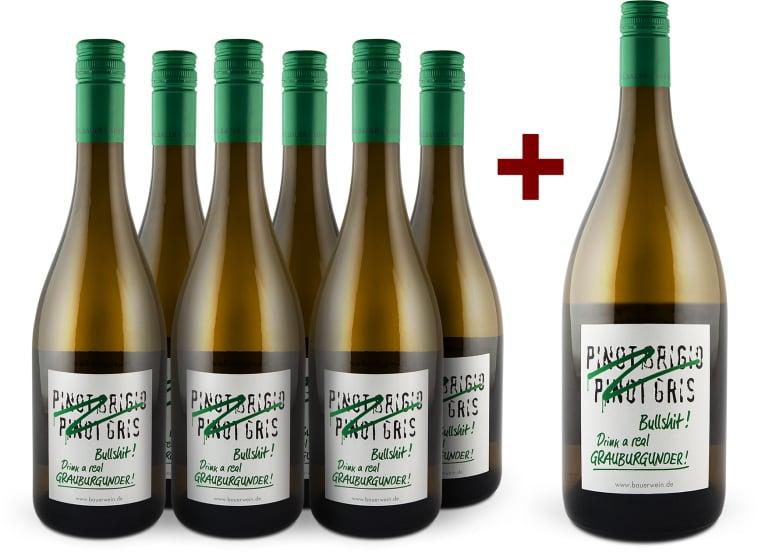 6er+Gratis-Magnum-Set 'Bullshit' Drink real Grauburgunder 2015
