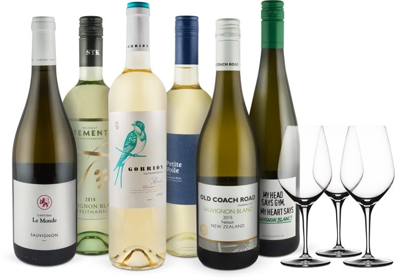 'Sauvignon Blanc Lover-Set' + 3 GRATIS Spiegelau-Weingläser