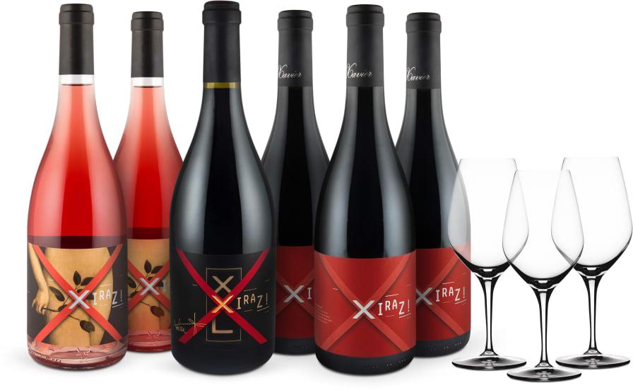 Wine in Black 'Xiraz! Family Set' & 3 Spiegelau-Gläser