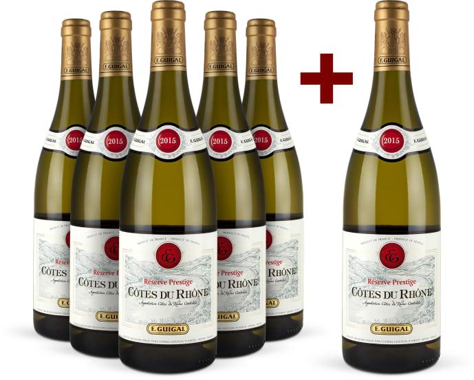 5+1-Set E.Guigal 'Réserve Prestige' Côtes du Rhône Blanc 2015