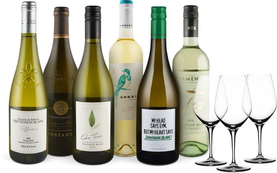 Wine in Black 'Sauvignon Blanc Lover' pakket + 3 Gratis Spiegelau wijnglazen
