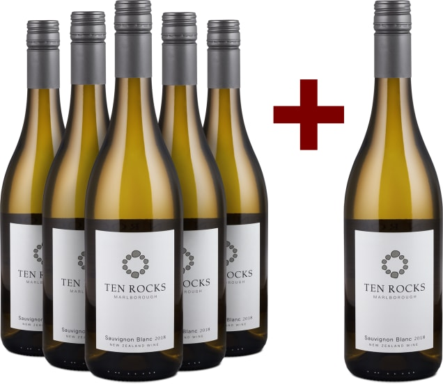'6 halen, 5 betalen' pakket Ten Rocks Sauvignon Blanc Marlborough 2018