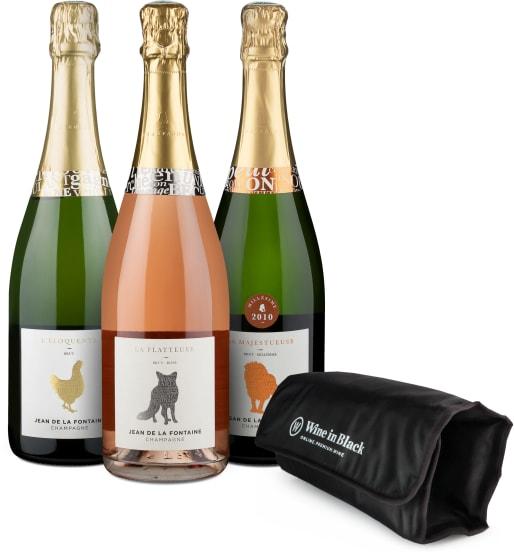 Winzer-Entdecker-Set: Champagne Jean de La Fontaine + Gratis-Kühlmanschette