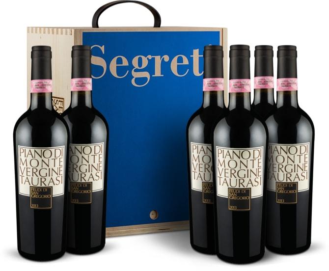 6 flessen 'Piano di Montevergine' Taurasi Riserva 2013 in houten wijnkistje