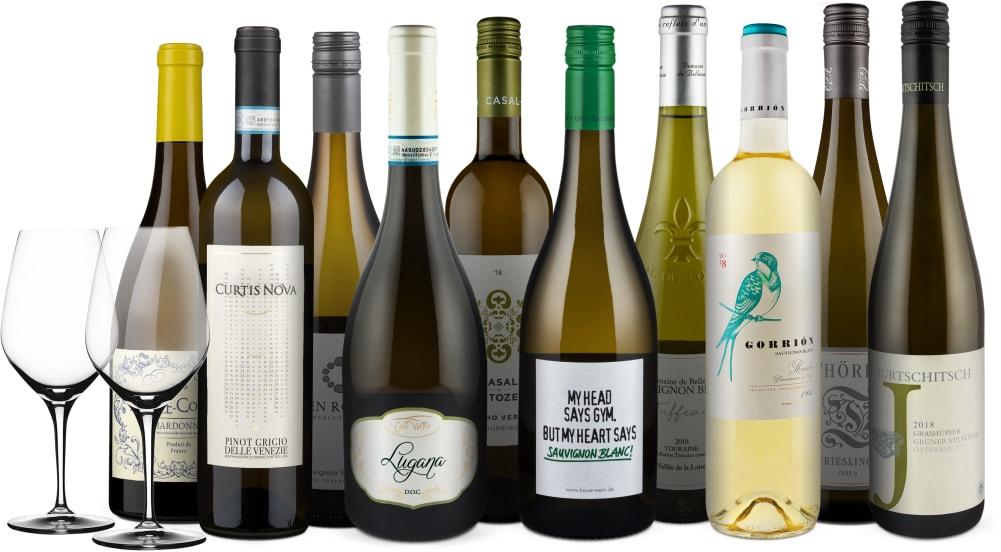 Wine in Black 'Großes Weißwein-Dinner'-Set' + 2 Spiegelau-Gläser