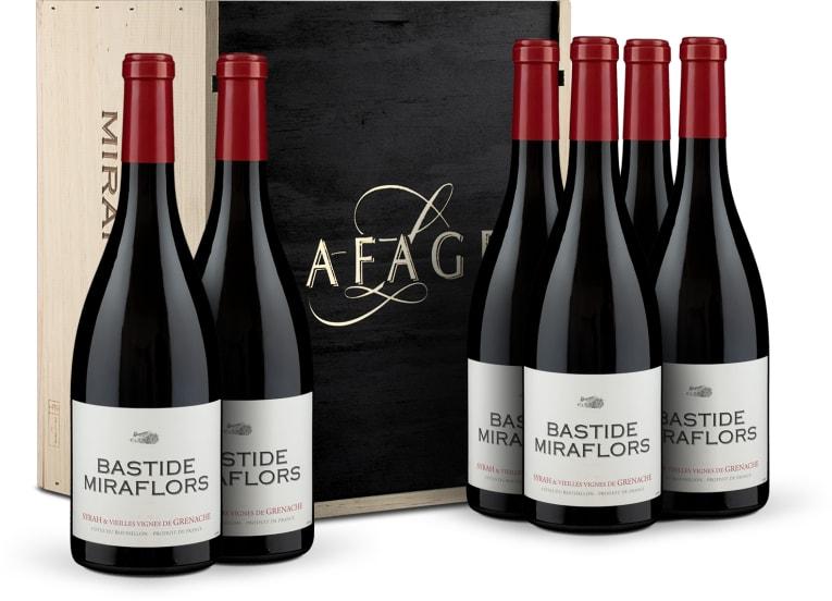6 flessen Syrah-Grenache 'Bastide Miraflors' Côtes du Roussillon 2017 in houten wijnkistje