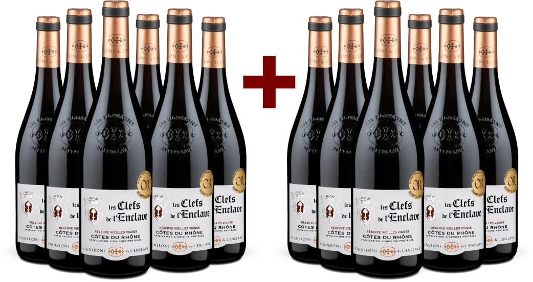 6+6-Set Côtes du Rhône 'Les Clefs de l'Enclave' Vieilles Vignes 2019