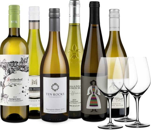 Wine in Black 'Sauvignon Blanc Lover'-Set + 3 Gratis-Spiegelau-Gläser