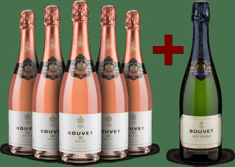 5 Flaschen '1851' Méthode Traditionnelle Rosé Brut + 1 Gratisflasche Crémant de Loire Brut Vintage 2016