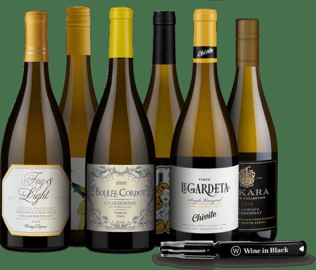 Wine in Black 'Charming-Chardonnay'-Set + Gratis-Kellnermesser
