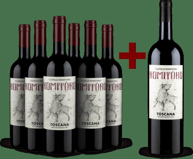 6 Flaschen 'RomiTòro' Toscana 2019 + 1 Gratis-Magnum 2018