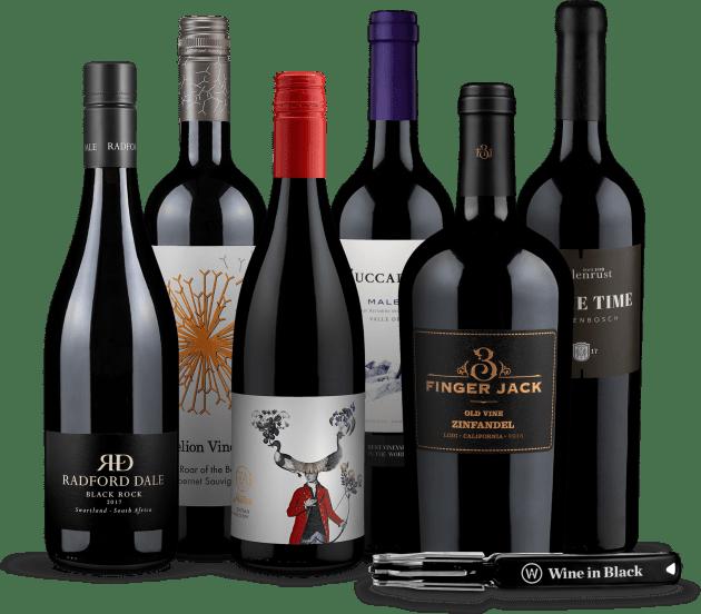 Wine in Black 'Best of Übersee'-Set + Gratis-Kellnermesser