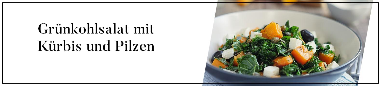 Grünkohlsalat mit Kürbis und Pilzen