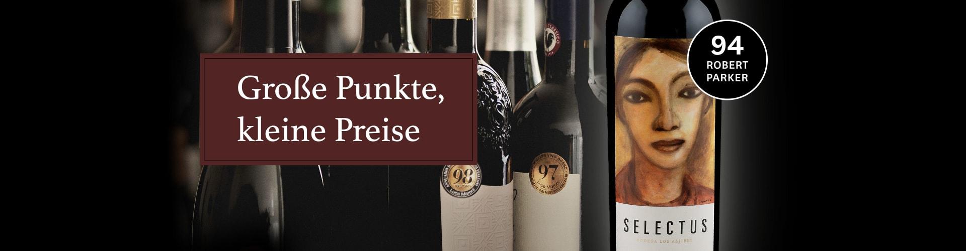 Weinflaschen unserer Kampagne Große Punkte, kleine Preise