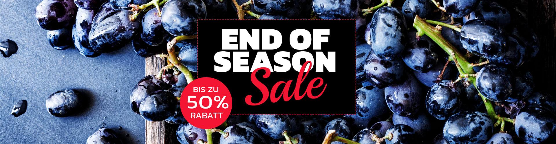 End-of-Season-Sale-Banner mit einem Wein aus dem Sortiment von Wine in Black