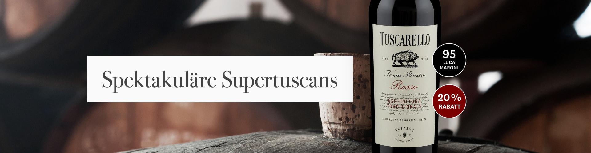 Unser aktueller Supertuscan vor einem Holzfass