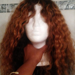 3 Color Ombre Afro Curly Full Lace Wig
