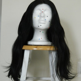 Handmade Brazilian Human/Synthetic Hair Blend Wig Pre-Tweezed Lace Closure Black/Dark Brown Blend