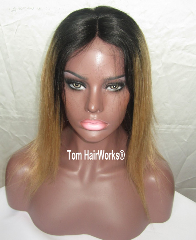 Black Root Blonde Tips 100 2525 Human Hair Lace Front Wigs