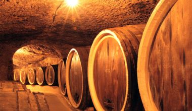 Eiken vaten in wijnkelder