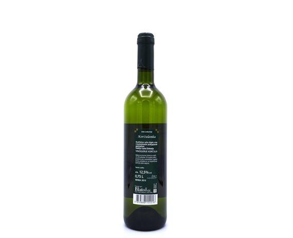 Korčulanka is een cuvee wijn uit Kroatië, achterkant van de fles