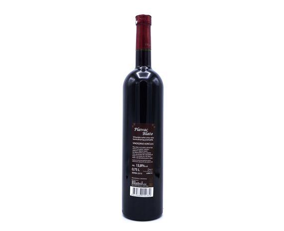 Plavac mali wijn uit Kroatië van topkwaliteit, achterkant van de fles