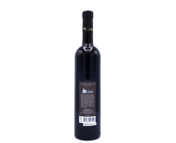Meandar Castellum is een cuvee wijn uit Kroatië bestaande uit Pinot noir, Cabernet Sauvignon en Zweigelt, achterkant van de fles