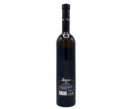 Traminer wijn uit Kroatië van topkwaliteit, achterkant van de fles
