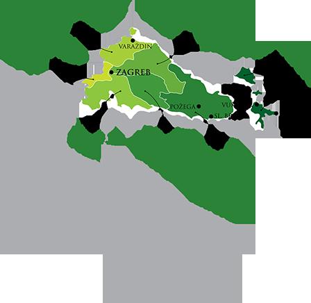 Kroatische wijn gemaakt in continentaal Kroatië