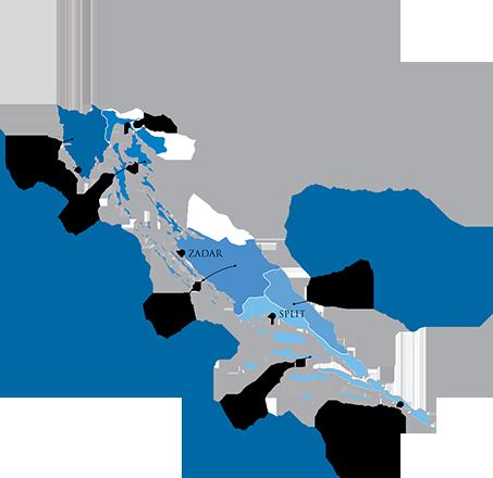 Kroatische wijn gemaakt in de kustregioKroatische wijn gemaakt in continentaal Kroatië