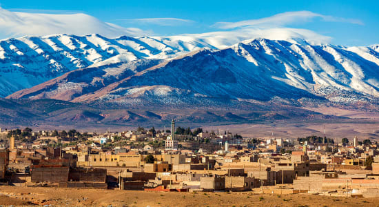village under the atlas mountains in morocco