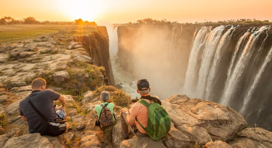 south africa zimbabwe travelers enjoying victoria falls