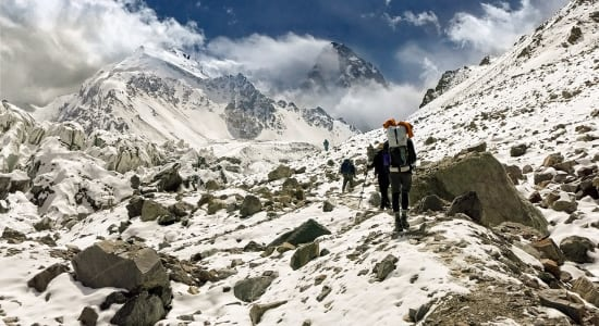 1 slide china karakoram hikers approaching italian camp pano