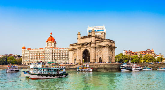 india mumbai harbor taj majal hotel boats