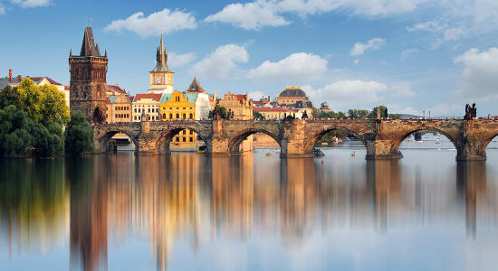 czech historic bridge river reflection