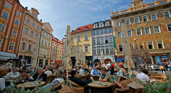 prague square cafe romantic danube