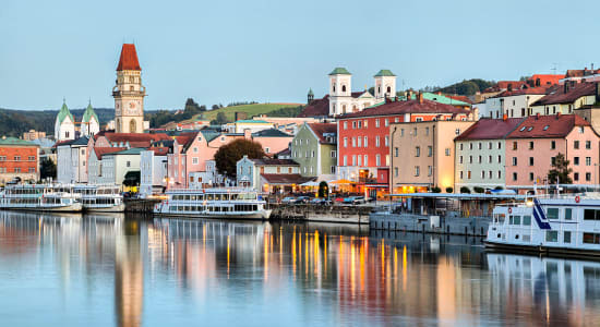 passau germany skyline danube river boats
