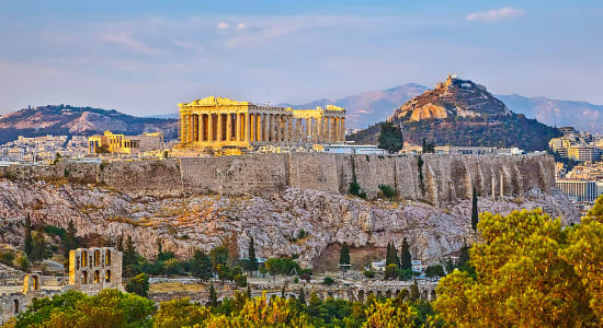 greece athens ruins sunset