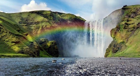 iceland skogarfoss rainbow