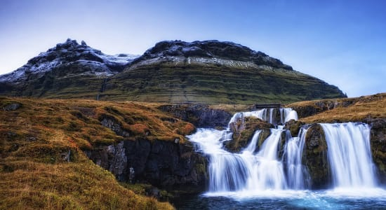 northern iceland waterfall snow covered