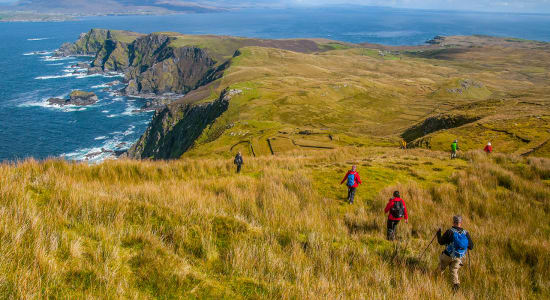ireland clare island hikers