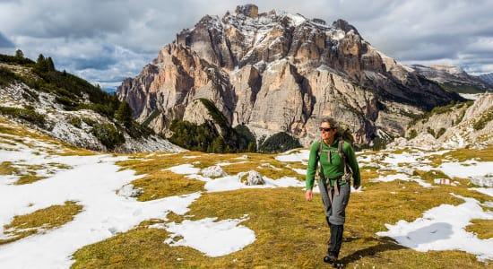 hiker italy dolomites