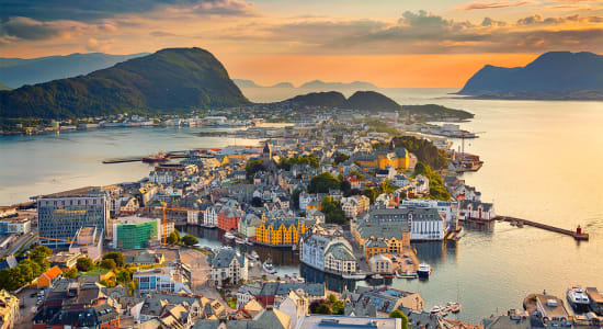 norway alesund mt aksla view sunset