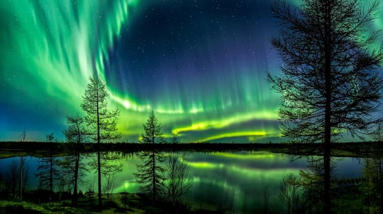 russia arctic northern lights over lake