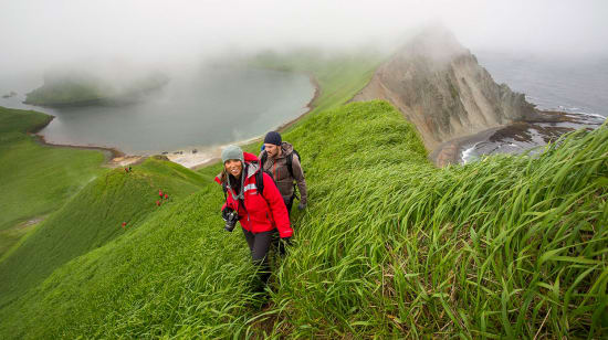 1 slide russian far east hiking above yankicha kuril islands pano