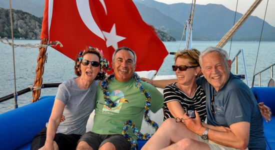 turkey gulet sailing flag happy people