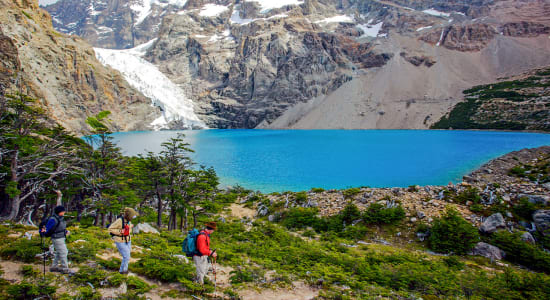 hikers at lago azul patagonia